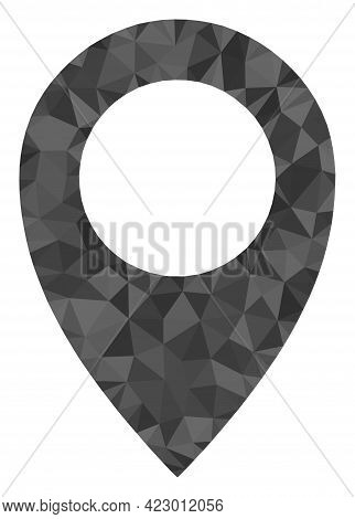 Low-poly Map Marker Combined With Scattered Filled Triangles. Triangle Map Marker Polygonal Icon Ill