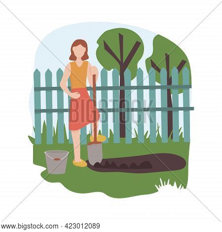 A Woman With A Shovel Digging In A Vegetable Garden. Agricultural And Farm Work In The Garden. Garde