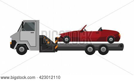 Tow Truck. Flat Faulty Car Loaded On A Tow Truck. Vehicle Repair Service Which Provides Assistance D