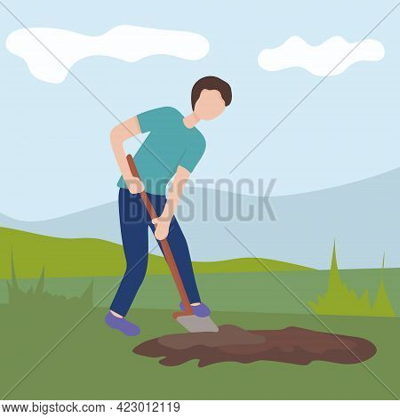 Man With A Shovel Digging The Ground. Agricultural And Farm Work In The Garden. Gardening Season, Wo
