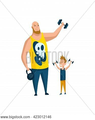 Father Spend Time With Son. Dad Goes In For Sports With Son, Happy Family Concept. Fatherhood Flat C