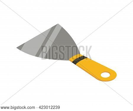 Spatula Isometric Hand Tool. Detailed Icon Of Tool For Handyman Repair. Vector Equipment Of Builder