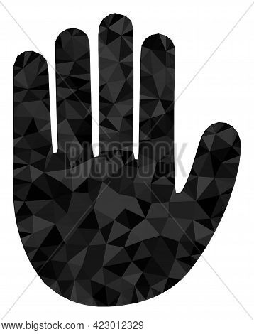 Low-poly Hand Palm Combined With Scattered Filled Triangles. Triangle Hand Palm Polygonal Icon Illus