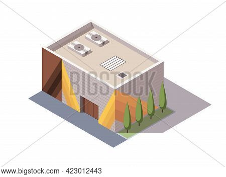 Isometric Supermarket Or Grocery Store Building. Vector Isometric Icon Or Infographic Element Repres