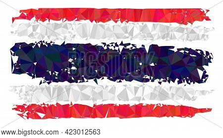 Low-poly Thailand Flag Constructed With Chaotic Filled Triangles. Triangle Thailand Flag Polygonal I