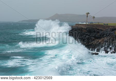 Tenerife, Canary Islands, Spain - 02.23.2020: View Of The Atlantic Ocean And The Golf Course. Amazin
