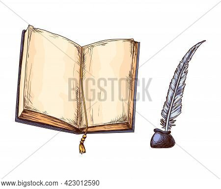 Old Open Book And Feather In Inkwell. Education And Wisdom Concept. Vector Icon For Education And Li