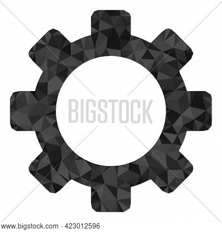 Low-poly Cog Combined With Chaotic Filled Triangles. Triangle Cog Polygonal Icon Illustration. Cog I