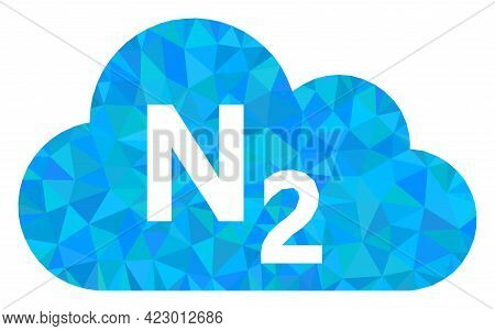 Low-poly Nitrogen Gas Constructed Of Chaotic Filled Triangles. Triangle Nitrogen Gas Polygonal Icon