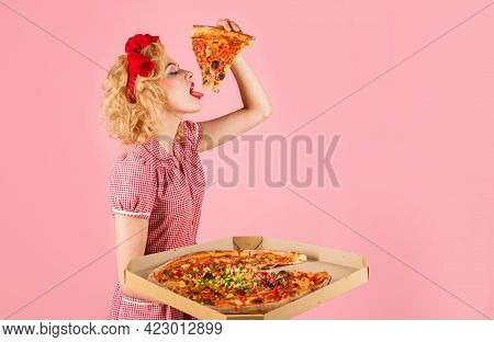 Woman With Slice Of Pizza. Fast Food. Italian Food. Hungry Girl Enjoy Tasty Baking. Lunch.