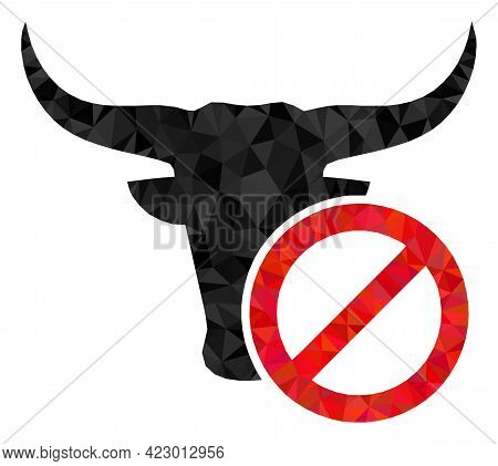 Low-poly Reject Beef Constructed Of Random Filled Triangles. Triangle Reject Beef Polygonal Icon Ill