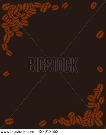 Scattered Roasted Coffee Beans Dark Blank Frame. Graphic Cafe Menu Template Vector Illustration.