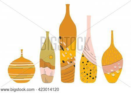 Modern Set Of Ceramic Vases. Set Of Ceramics For Home Decoration.  Flat Vector Cartoon Illustration