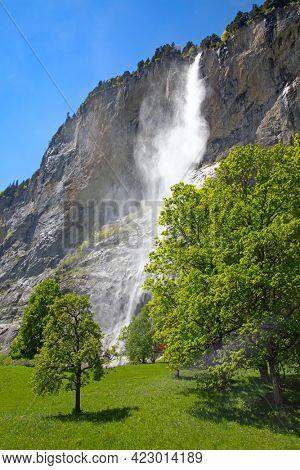 Waterfalls of the Lauterbrunnen valley. Cantone Bern, Switzerland