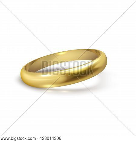 Realistic Gold Wedding Ring Isolated On White Background Symbol Of Love And Marriage.