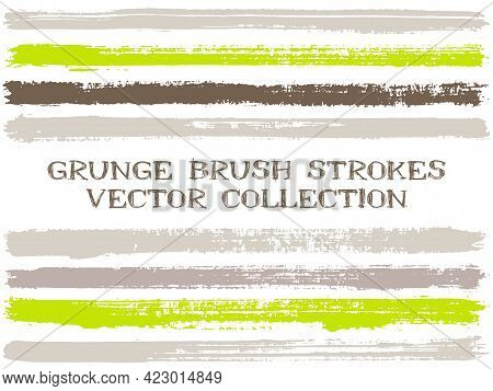 Long Ink Brush Strokes Isolated Design Elements. Set Of Paint Lines. Creative Stripes, Textured Pain