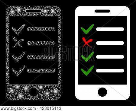 Bright Mesh Vector Mobile Check List With Glare Effect. White Mesh, Glare Spots On A Black Backgroun