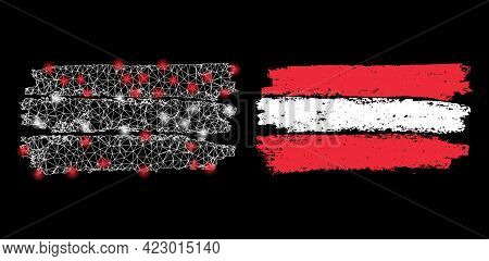 Bright Mesh Vector Austria Flag With Glare Effect. White Mesh, Glare Spots On A Black Background Wit
