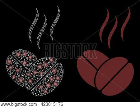 Magic Mesh Vector Coffee Aroma With Glow Effect. White Mesh, Glare Spots On A Black Background With