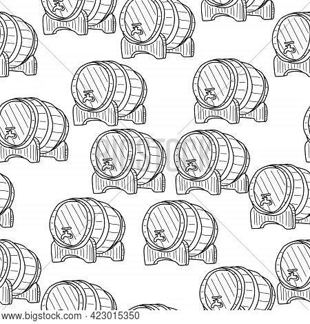 Wine Barrels Seamless Pattern, Outline Wooden Barrels On White Background Vector Illustration