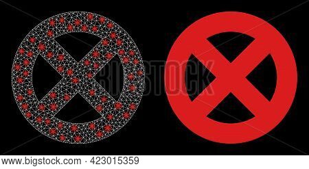 Bright Mesh Vector No Entry With Glare Effect. White Mesh, Light Spots On A Black Background With No
