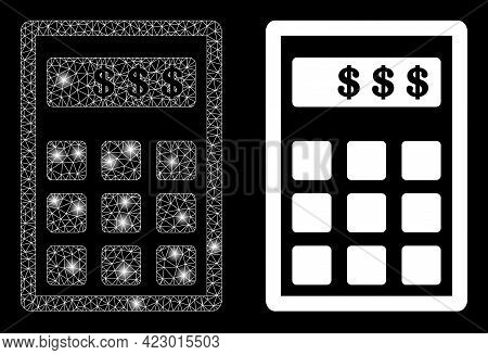 Glossy Mesh Vector Dollar Calculator With Glow Effect. White Mesh, Bright Spots On A Black Backgroun