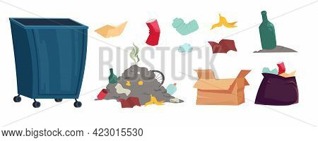Garbage, Trash And Litter Bin Isolated Cartoon Set. Old Plastic Cups, Glass Bottles, Creased Carton