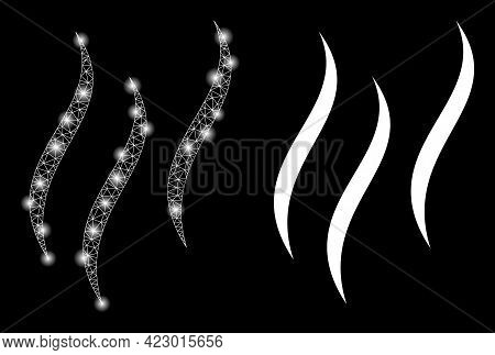 Glossy Mesh Vector Aroma With Glare Effect. White Mesh, Glare Spots On A Black Background With Aroma