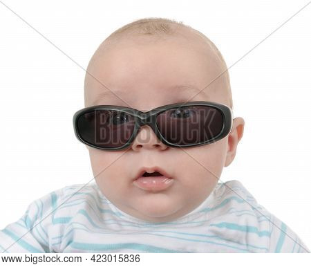 Amazed Curious Child Kid With Sunglasses Googles Looking