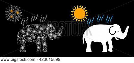 Glossy Mesh Vector Elephant Under Sun Heat With Glare Effect. White Mesh, Glare Spots On A Black Bac