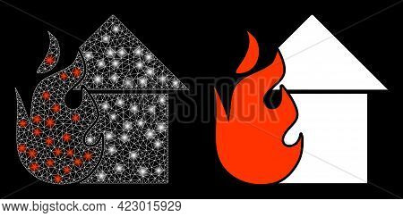 Glamour Mesh Vector Fired House With Glare Effect. White Mesh, Glare Spots On A Black Background Wit