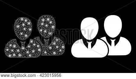 Bright Mesh Vector Users With Glare Effect. White Mesh, Flash Spots On A Black Background With Users