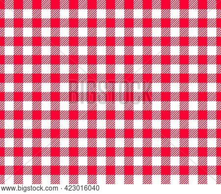Red And White Checkered Background With Striped Squares For Picnic Blanket, Tablecloth, Plaid, Shirt