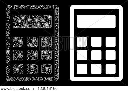 Glossy Mesh Vector Calculator With Glare Effect. White Mesh, Light Spots On A Black Background With