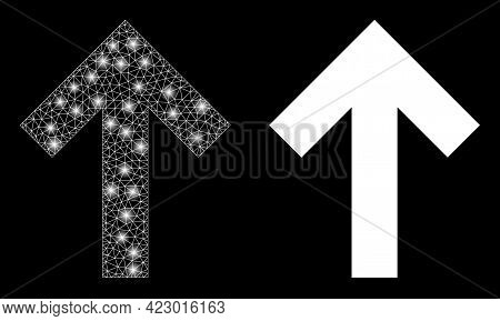 Bright Mesh Vector Up Direction Arrow With Glare Effect. White Mesh, Light Spots On A Black Backgrou