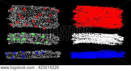 Glossy Mesh Vector Colored Charcoal Texture Stripes With Glare Effect. White Mesh, Glare Spots On A