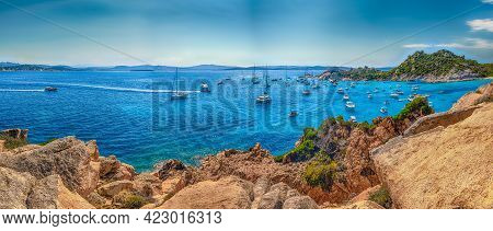 Scenic Panoramic View Over The Picturesque Cala Corsara In The Island Of Spargi, One Of The Highligh