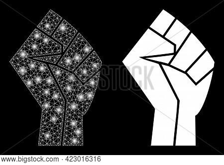 Magic Mesh Vector Fist With Glare Effect. White Mesh, Glare Spots On A Black Background With Fist Ic