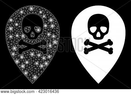 Magic Mesh Vector Dead Place Marker With Glare Effect. White Mesh, Glare Spots On A Black Background