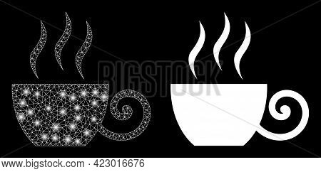 Bright Mesh Vector Coffee Cup With Glare Effect. White Mesh, Glare Spots On A Black Background With