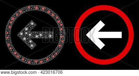 Bright Mesh Vector Back Direction With Glow Effect. White Mesh, Bright Spots On A Black Background W