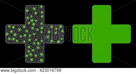 Bright Mesh Vector Veterinary Cross With Glare Effect. White Mesh, Glare Spots On A Black Background