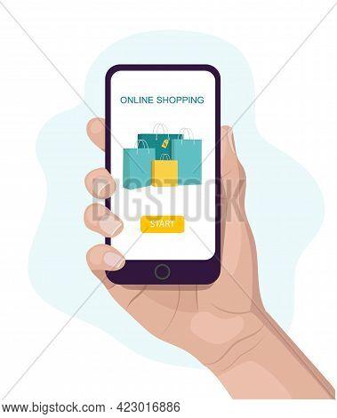 Online Shopping Mobile Concept Banner, Vector Illustration