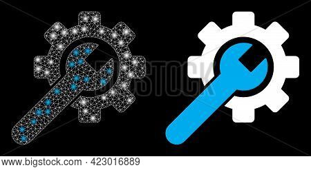 Bright Mesh Vector Service Tool With Glow Effect. White Mesh, Glare Spots On A Black Background With