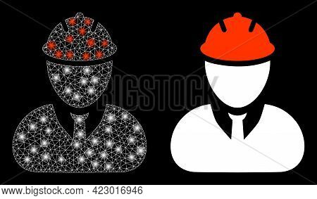 Bright Mesh Vector Engineer With Glare Effect. White Mesh, Glare Spots On A Black Background With En