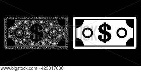 Bright Mesh Vector Dollar Banknote With Glare Effect. White Mesh, Glare Spots On A Black Background