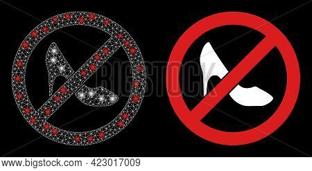 Bright Mesh Vector Stop Lady Shoes With Glare Effect. White Mesh, Flash Spots On A Black Background
