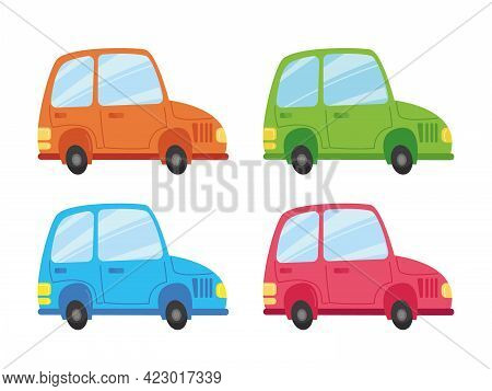 Set Of Multi-colored Cars. Green Car, Blue, Pink And Orange. Transport Vector Illustration In Cartoo