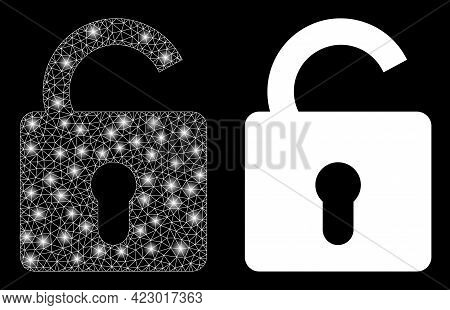 Bright Mesh Vector Unlock With Glare Effect. White Mesh, Bright Spots On A Black Background With Unl