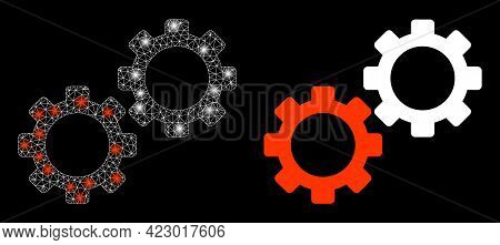 Glossy Mesh Vector Gear Mechanics With Glare Effect. White Mesh, Flash Spots On A Black Background W
